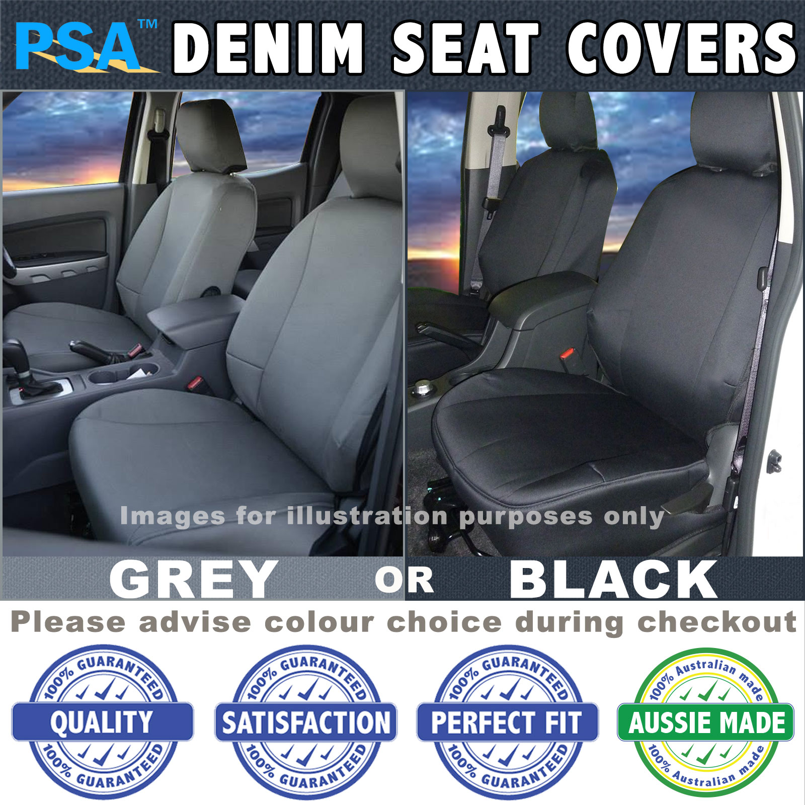 Psa Denim Seat Cover Landcruiser 75 Troopy Front Bucket