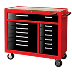 Kromex 13 Drawer Roller Cabinet With Wooden Bench Top