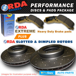 FRONT SLOTTED DISC BRAKE ROTORS & PADS MAZDA 3 2.5L SP25 12/2008-ON (300mm DIA)