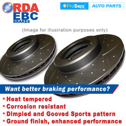 FRONT PAIR Dimp Slot DISC BRAKE ROTORS NISSAN SKYLINE R33 GTR 1995-2001 324MM DIA