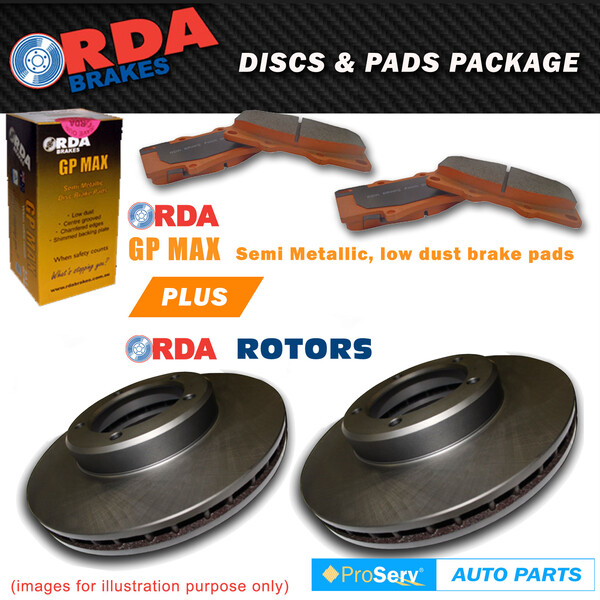 FRONT DISC BRAKE ROTORS AND PADS MITSUBISHI OUTLANDER ZG ZH 2007-ON (294MM dia x 24mm Thickness)