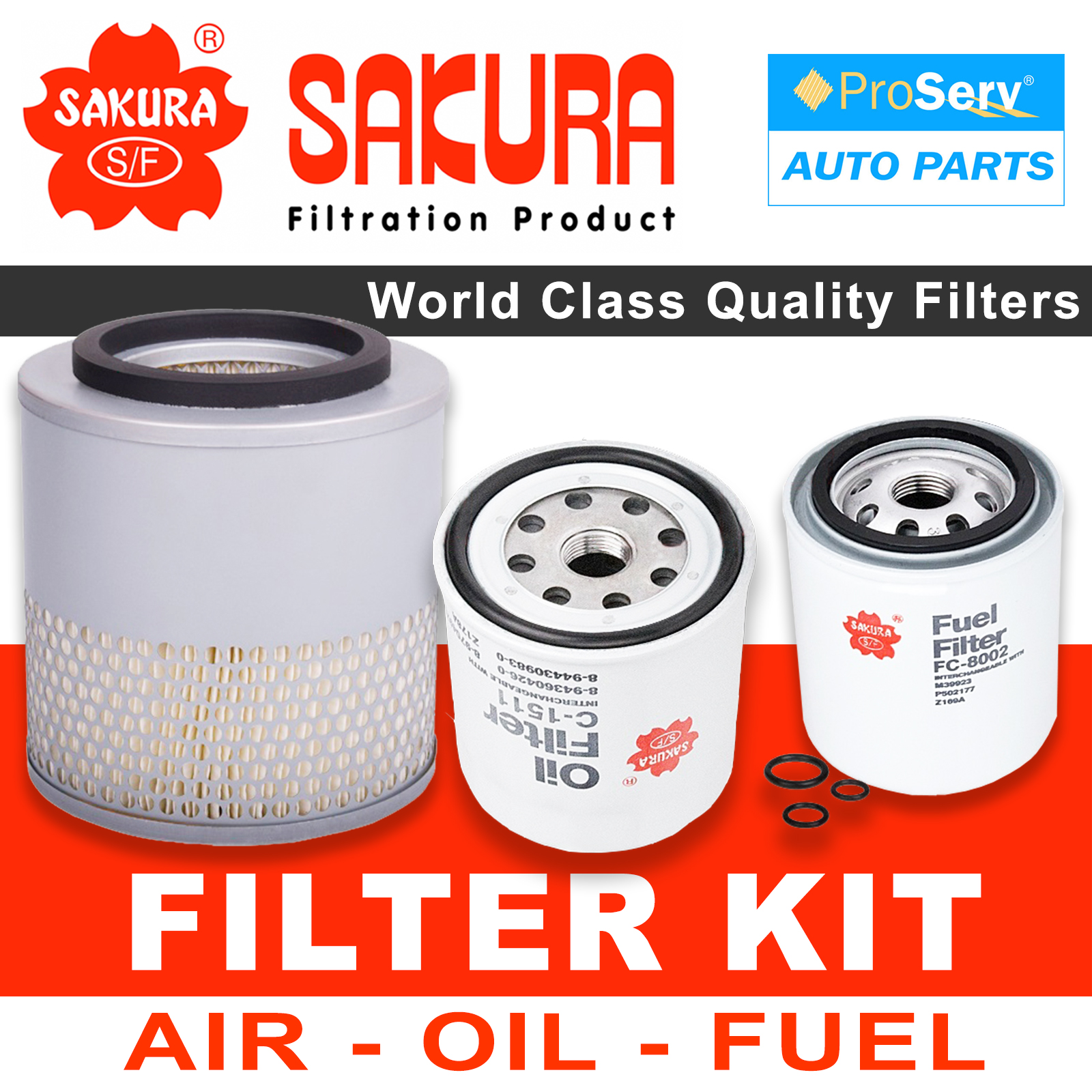 Oil Air Fuel Filter service kit for Holden Rodeo TF 2 8L Turbo Diesel