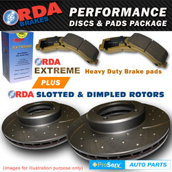 Front Slotted Disc Brake Rotors & Pads Mazda 323 BJ 2.0 2000-5/2003